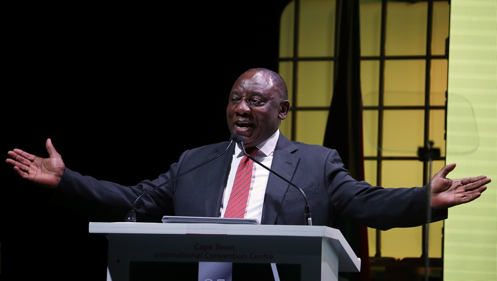 President Cyril Ramaphosa addresses the African Mining Indaba in Cape Town. Picture: Mike Hutchings/Reuters