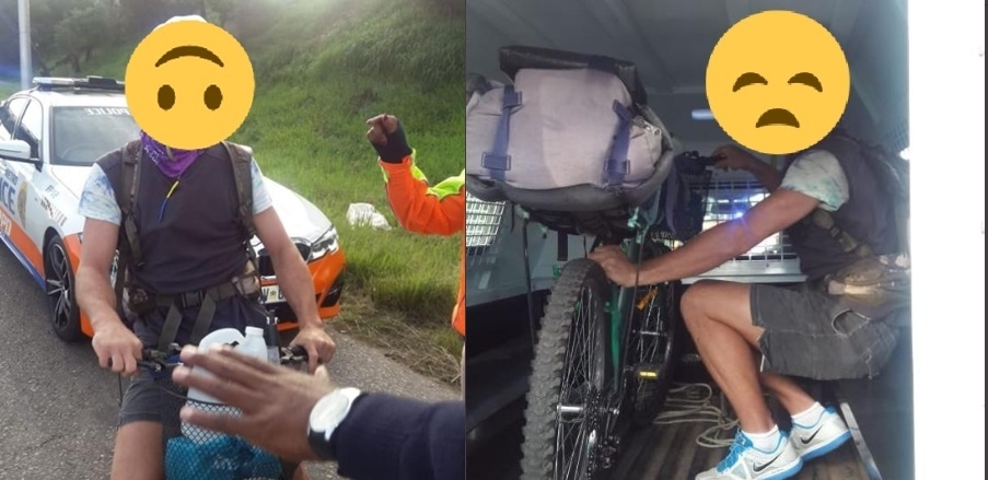 A cyclist was arrested for breaking the lockdown rules in Johannesburg on 27 March 2020.