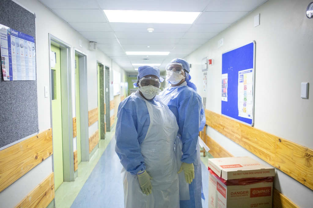 Nurses in the isolation unit at Tygerberg Hospital in the Western Cape.