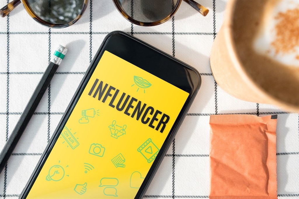top view influencer feature on mobile screen with