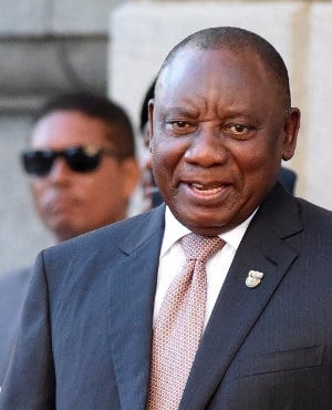 South African President Cyril Ramaphosa arrives to