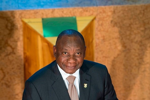 South African President Cyril Ramaphosa looks on a