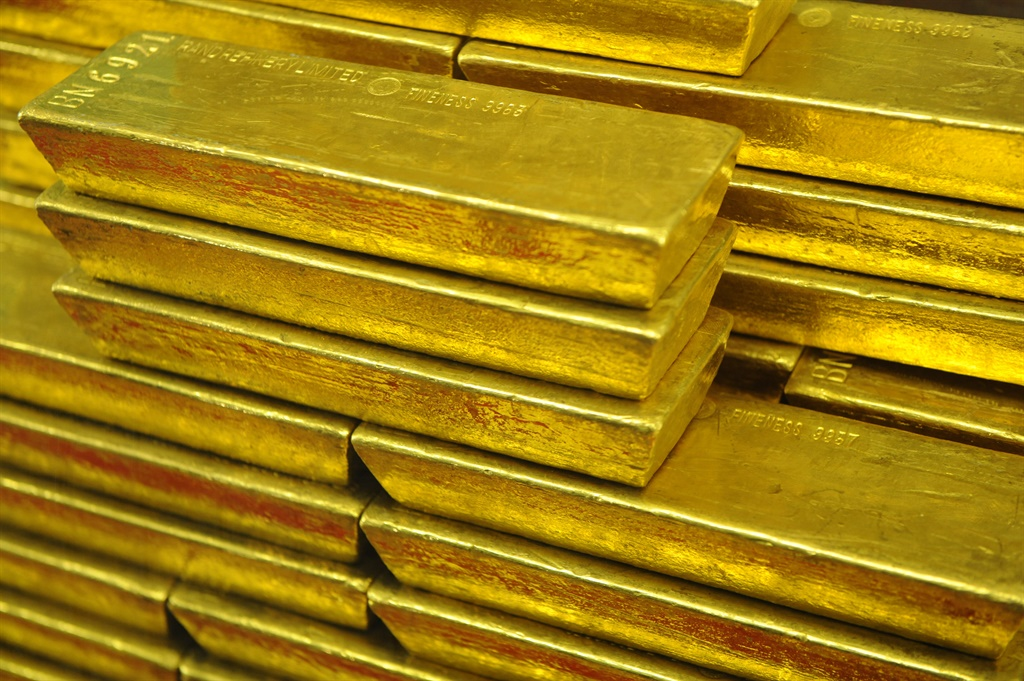 Gold bars are seen at the Czech Central Bank on Se