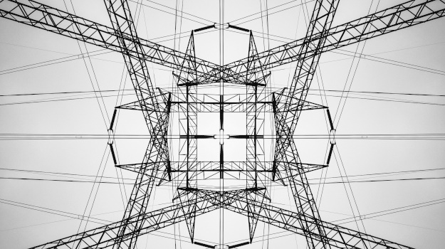High voltage transmission tower.  Symmetrical composite.