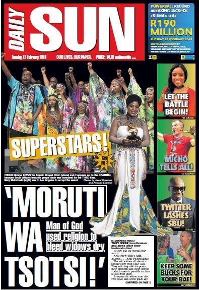 Daily Sun front page
