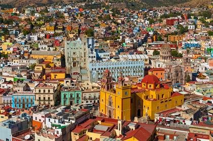 Aerial view of the Guanajuato City skyline with th
