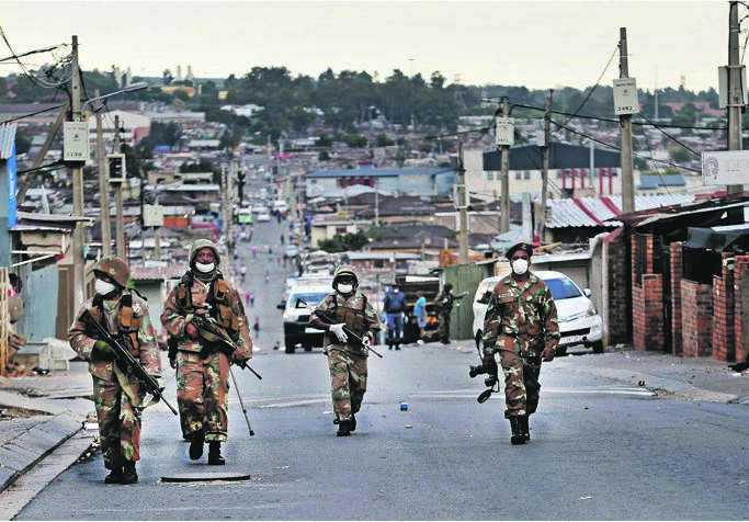 Lockdown enforcement in Alexandra to curb the spread of Covid-19. Picture: Tebogo Letsie