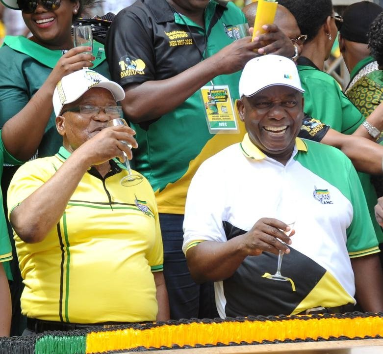 Former president Jacob Zuma and President Cyril Ramaphosa during the ANC manifesto launch in January. Picture: Jabulani Langa