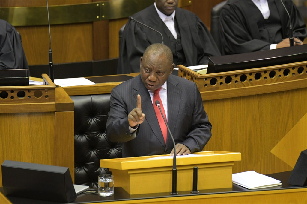 President Cyril Ramaphosa addresses members of Parliament during his State of the Nation Address (SONA) 2019 debate reply in the National Assembly. (Photo by Gallo Images / Jeffrey Abrahams)