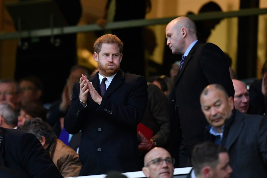 Prince Harry applauds after a Guinness Six Nations