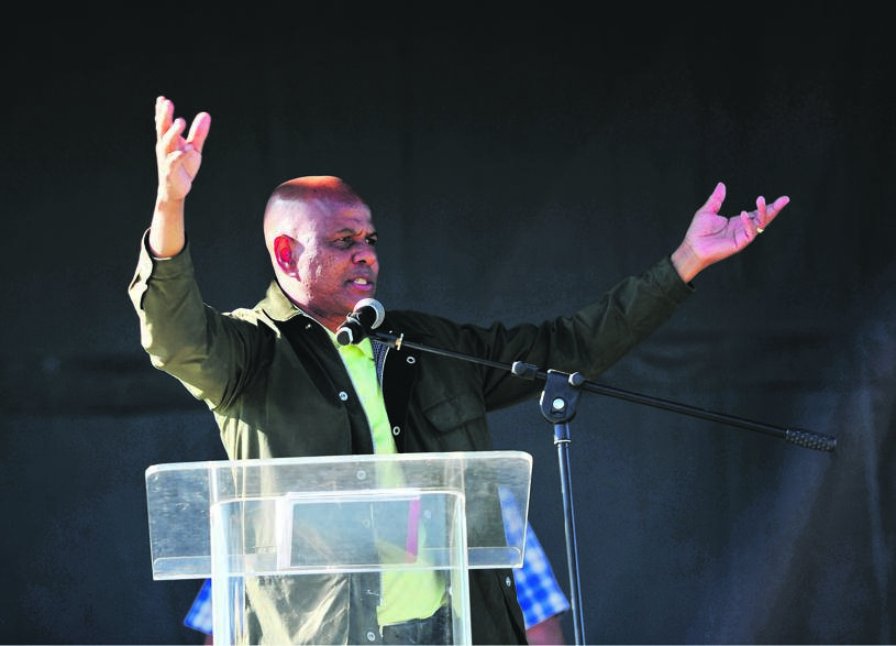 Amcu president Joseph Mathunjwa during a mass meeting, in which he announced an end to the five-month strike at Sibanye-Stillwater's gold mines. The strike claimed the lives of nine people Picture: Tebogo Letsie
