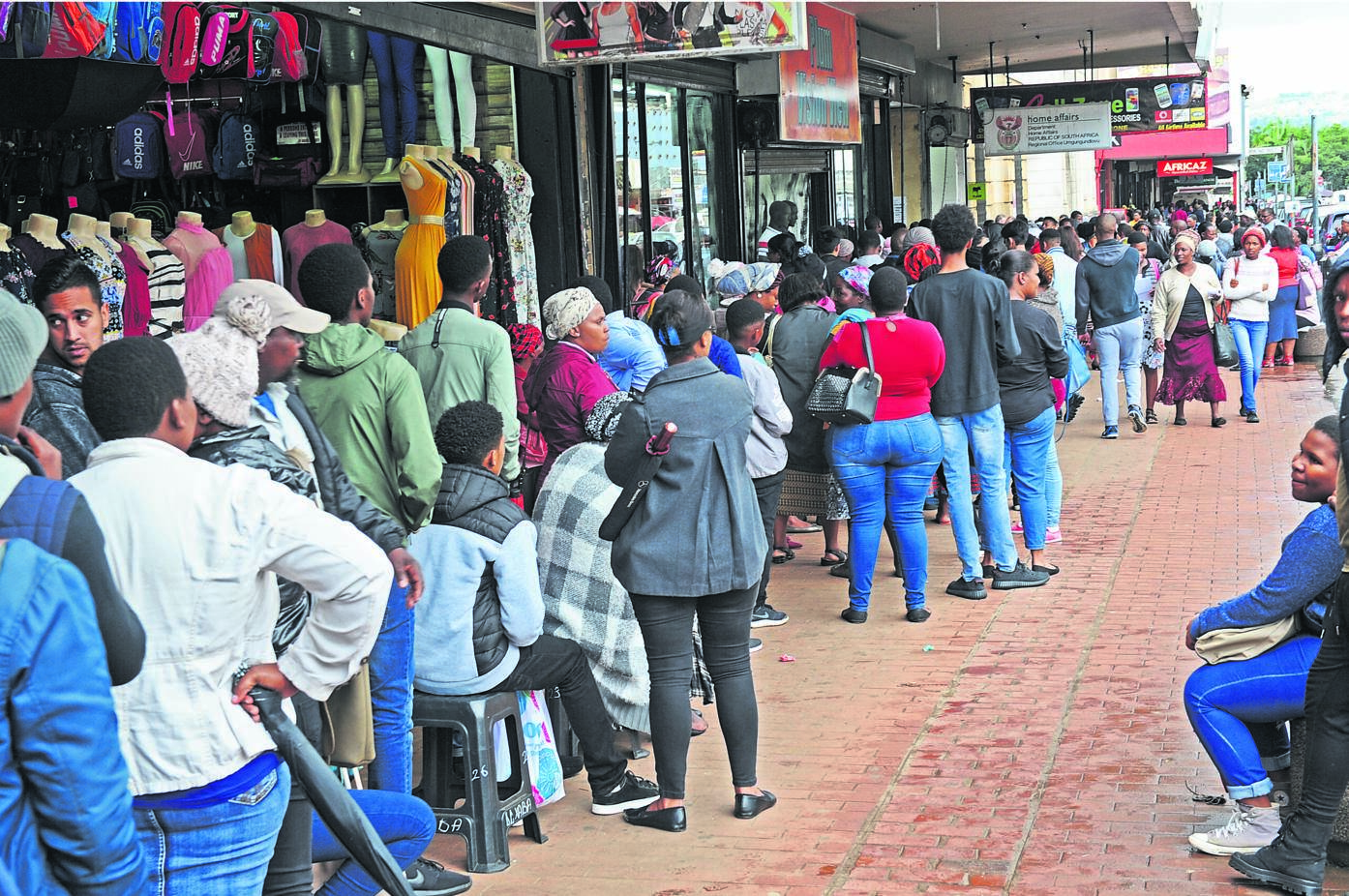 Queues outside Home Affairs on Friday afternoon.