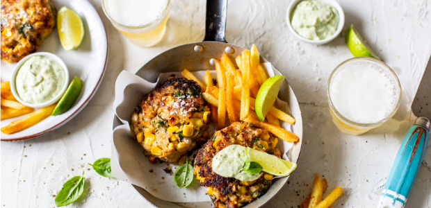 Panko-crumbed tuna, lime and corn cakes with green