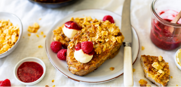 Luxury French toast with quick chia jam