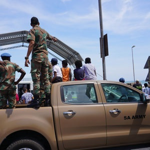 Children sitting on a army vehicle during Armed Forces Day. (Zukile Daniel, News24)