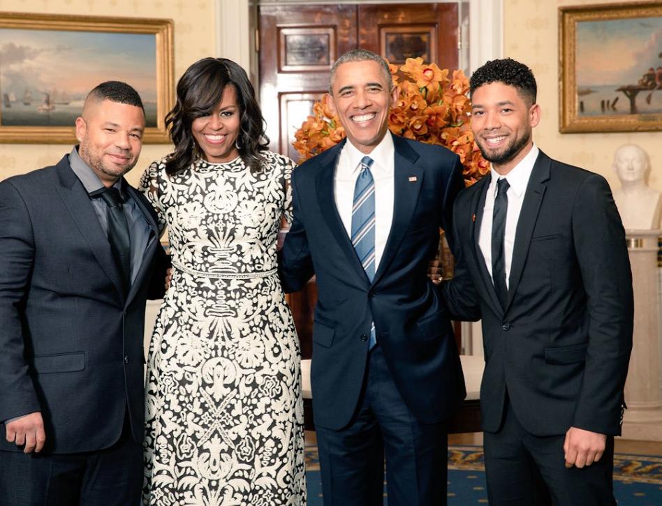 Van links: Jojo Smollett, Michelle en Barack Obama