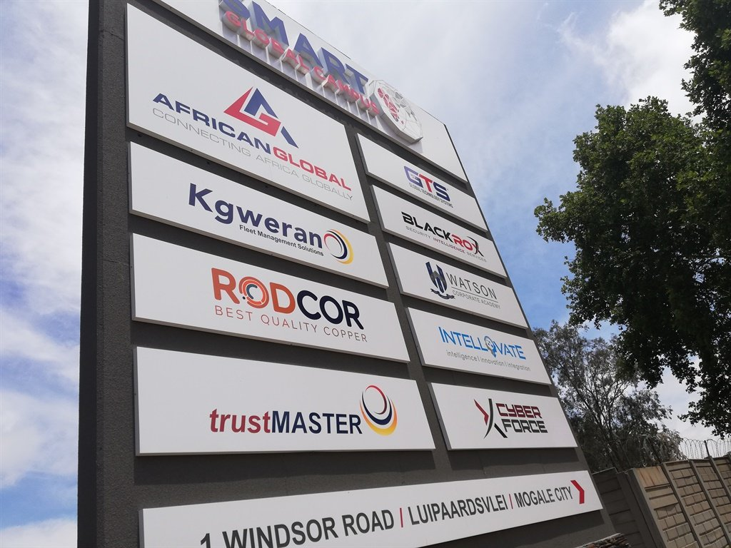 A sign board outside the Bosasa/African Global Operations head office in Krugersdorp showing some of the companies that will be effected by the liquidation of AGO. (Kyle Cowan)