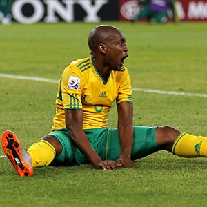 Katlego Mphela of South Africa looks frustrated during the 2010 FIFA World Cup South Africa Group A match between South Africa and Mexico at Soccer City Stadium on June 11, 2010 in Johannesburg, South Africa.