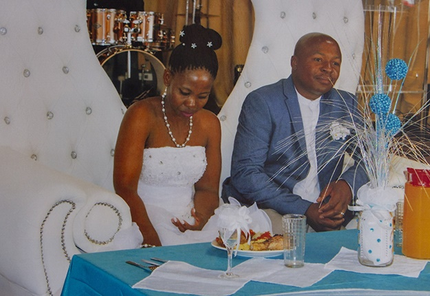 Boswell Mhlongo and his wife Mavis on their wedding day.