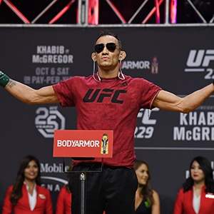 Tony Ferguson poses during a ceremonial weigh-in f