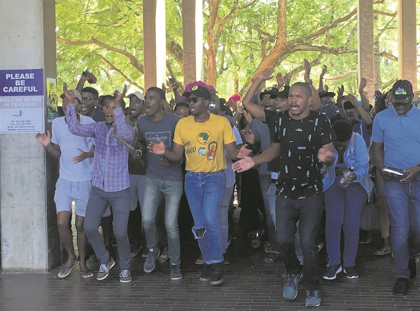 UKZN students during the protest action on Thursday.
