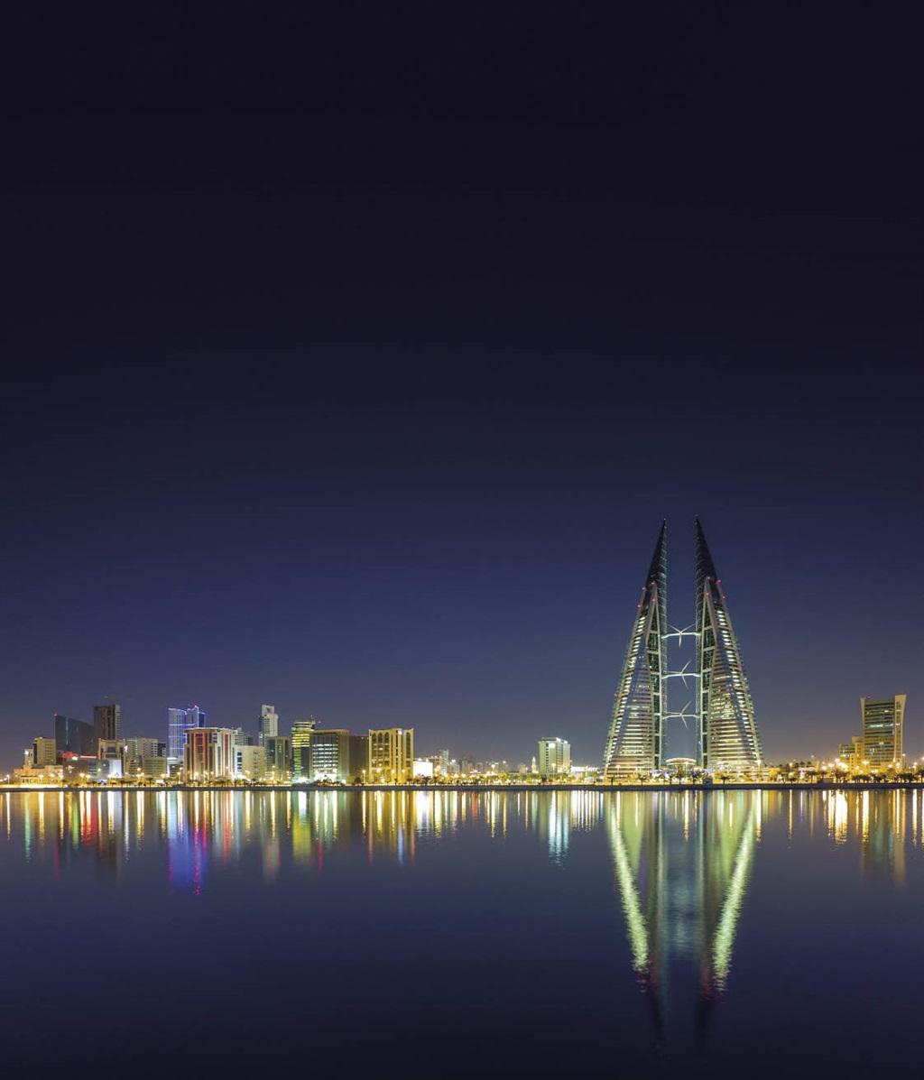 Die Bahrain World Trade Center in Manama troon bo die res van die stad uit. Disdie tweede hoogste gebou in die land.