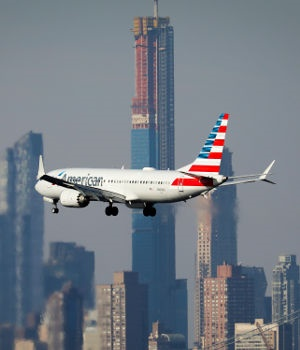 An American Airlines Boeing 737 Max 8, on a flight