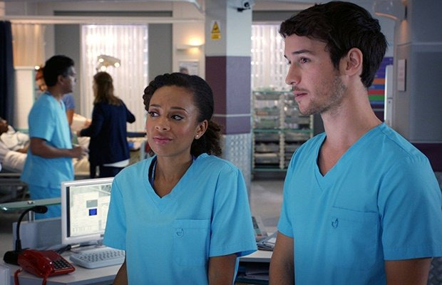Eleanor Fanyinka and Nic Jackman in 'Holby City.'