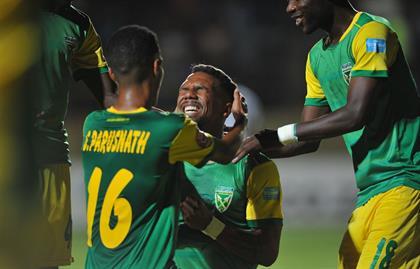 Wayde Jooste of Golden Arrows celebrates goal duri