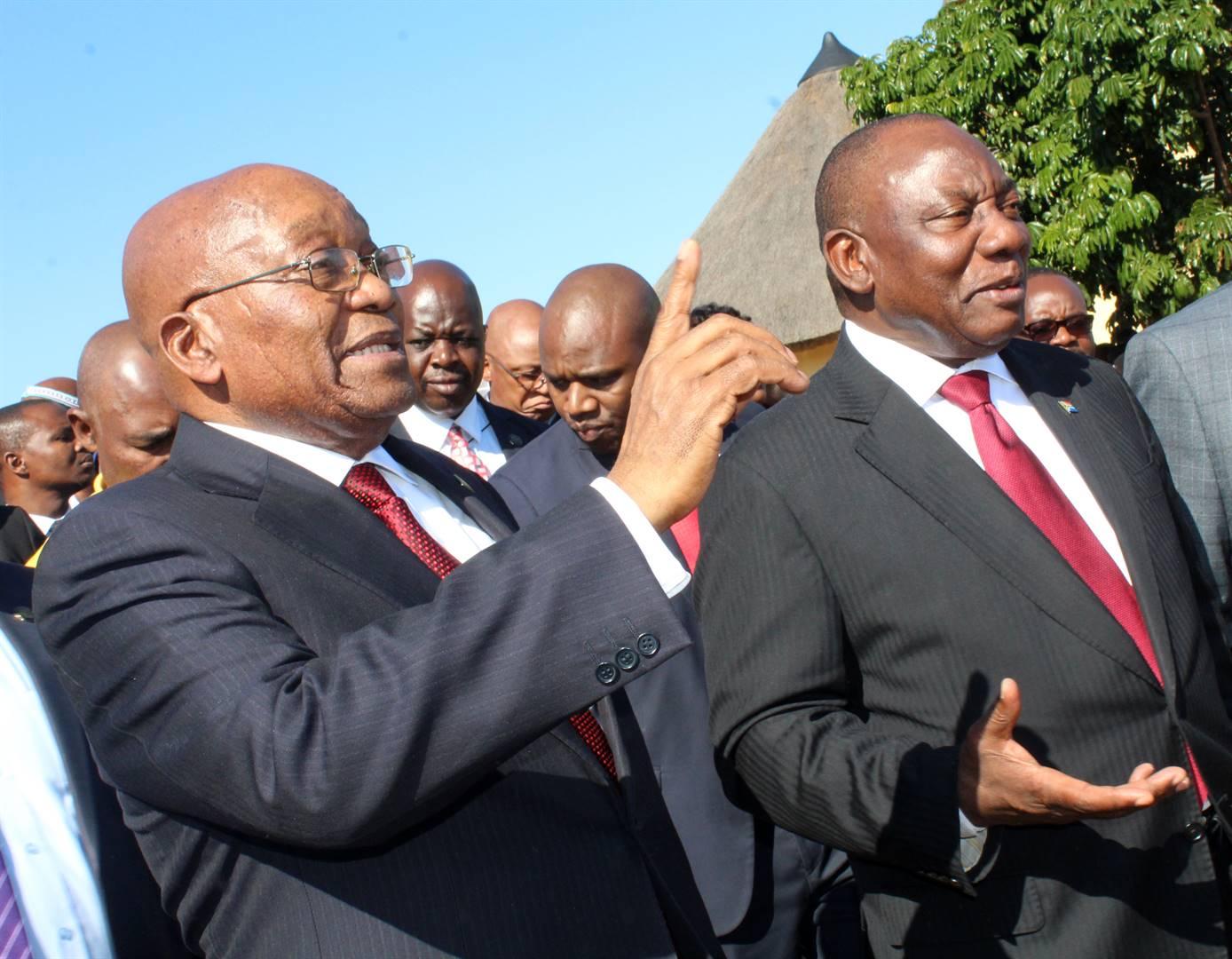 Former president Jacob Zuma and President Cyril Ramaphosa Picture: Ziyanda Zweni