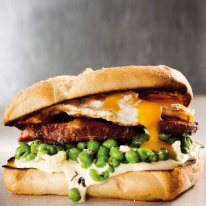 Photo: Breakfast burger with minted peas