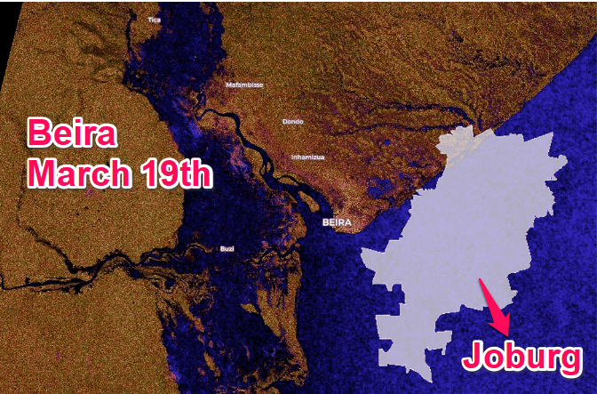This shocking satellite image of Mozambique shows that an area the size of Joburg remains under water
