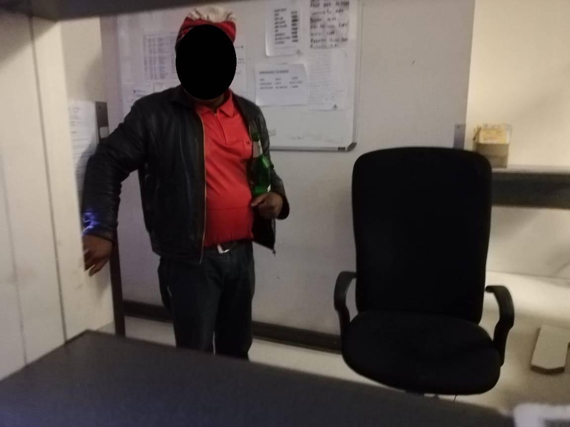 The 'drunk' admissions clerk. (Screen grab)