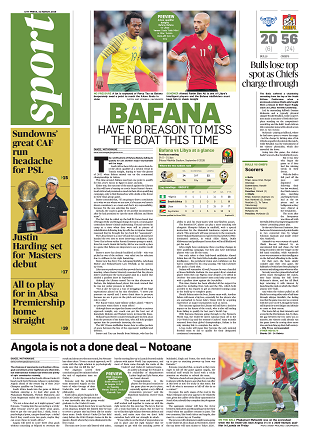 What's in City Press Sport today: Pressure on Bafana to qualify against Libya, Downs' CAF run presents another headache for premier league, Siwela set to hoist the SA flag abroad
