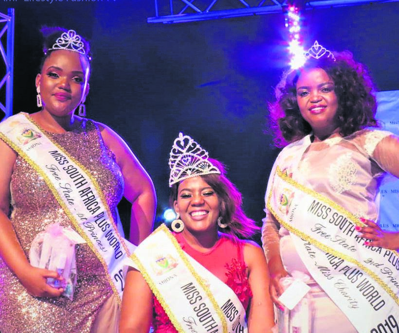 Miss South Africa Plus World - Free State finalists to compete for the 2019 crown. From the left are Boitumelo Diradingwe, Karabelo Litabe (Queen) and Puleng Majola. The trio will compete in the unmarried category of the pageants which makes provision for married contestants.Photo supplied