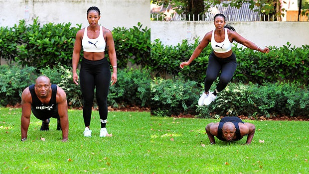 4. partner burpees One partner starts in the plank