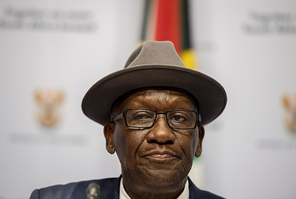 Police minister Bheki Cele addresses the media on the security detail of the Global Citizen Festival on December 05, 2018 in Cape Town, South Africa. (Photo by Gallo Images / Netwerk24 / Jaco Marais)