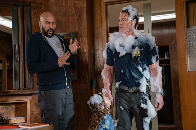 Keegan-Michael Key, Finley Rose Slater, and John Cena in 'Playing With Fire'.