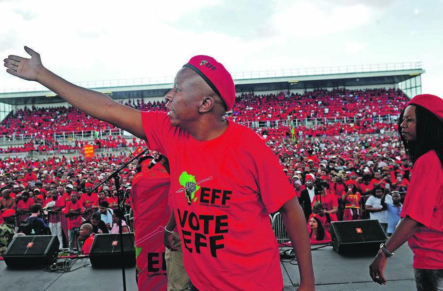 EFF leader Julius Malema addresses supporters at his party's manifesto launch at Philippi Stadium in Cape Town. Picture: Lerato Maduna