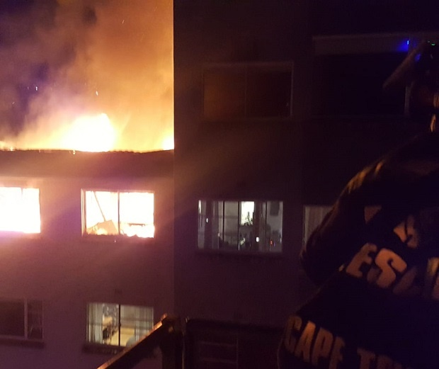 Four apartments were gutted in a fire in Gardens, Cape Town.