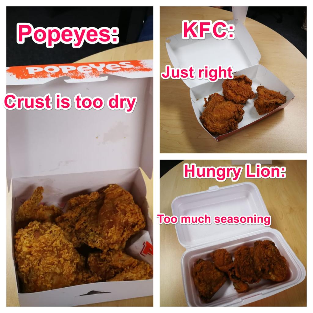 Popeye Chicken, Hungry Lion, kfc