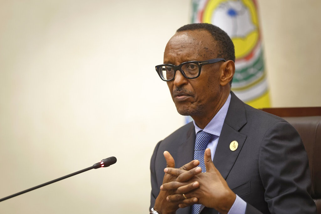 Rwanda's President Paul Kagame answers questions from the media at a press conference at a convention centre in the capital Kigali, Rwanda. (Ben Curtis, AP)