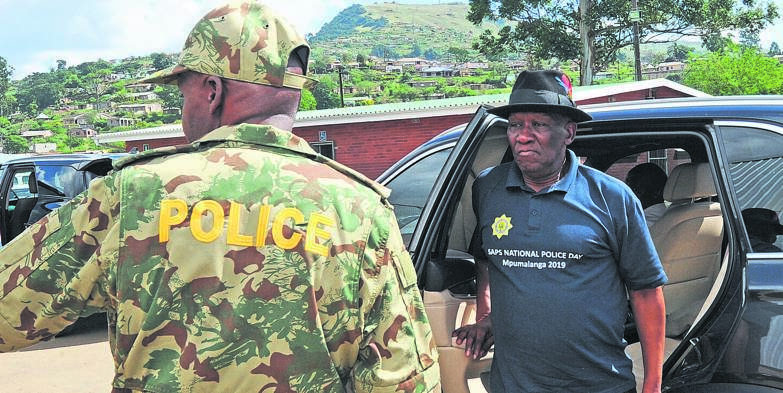 Police Minister Bheki Cele arrives at Caluza Sports Grounds to host an engagement imbizo with the community of Plessislaer and surrounding areas. PHOTO: ian carbutt