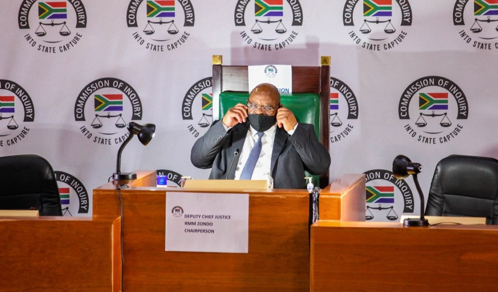 Deputy Chief Justice Raymond Zondo at the judicial commission of inquiry into state capture on 19 November 2020 in Johannesburg.