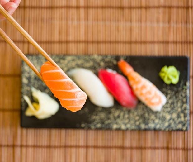 sushi, wasabi