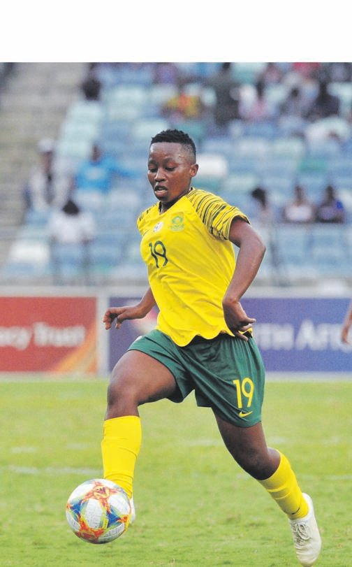 BEST FOOT FORWARD Kholosa Biyana and her Banyana team-mates will face USA in an international friendly match in California tonight. Picture: Sydney Mahlangu / BackpagePix