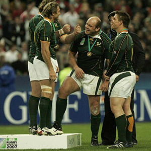 Percy Montgomery, Os du Randt and John Smit celebrate winning the 2007 Rugby World Cup final (Gallo Images)