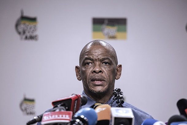 South African ruling Party African National Congress Secretary General Ace Magashule gives a press briefing on February 13, 2018 on the outcome of the ANC National Executive Committee, in Johannesburg at the African National Congress Headquarters. - South Africas ruling ANC party confirmed today that it had decided to recall scandal-tainted President Jacob Zuma from office, but said no deadline had been set for him to resign. (Photo by GIANLUIGI GUERCIA / AFP)