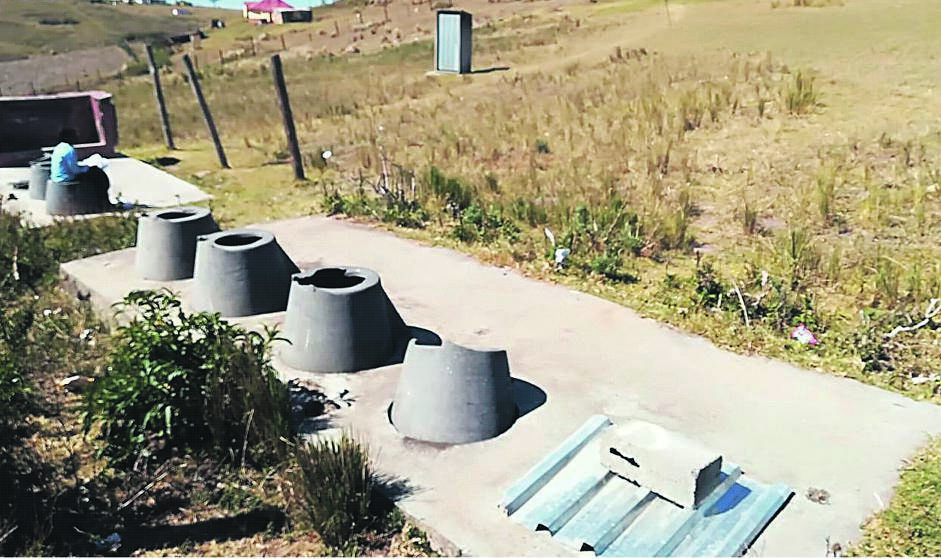 The old toilets at Dalibango Primary where a small child fell in and almost drowned. These were later demolished. The portable school toilets were removed last week, leaving the children with nothing to use but the bush. Picture: Lubabalo Ngcukana/City Press