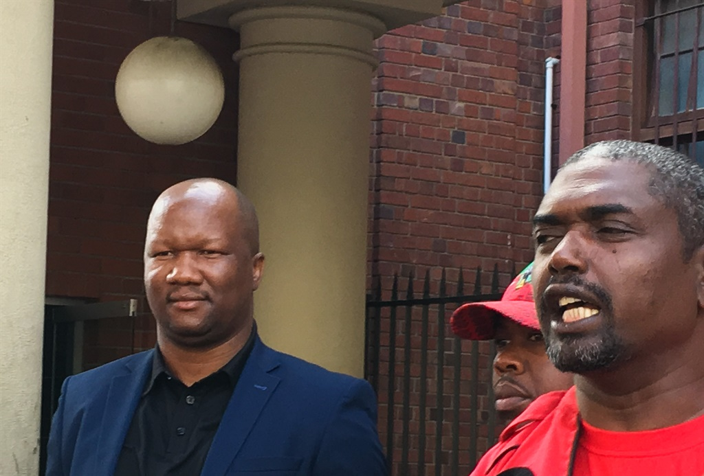 EFF MP Marshall Dlamini after apearing in court for assault, with EFF general secretary Godrich Gardee outside the Cape Town Magistrate's Court. (Jan Gerber/News24)